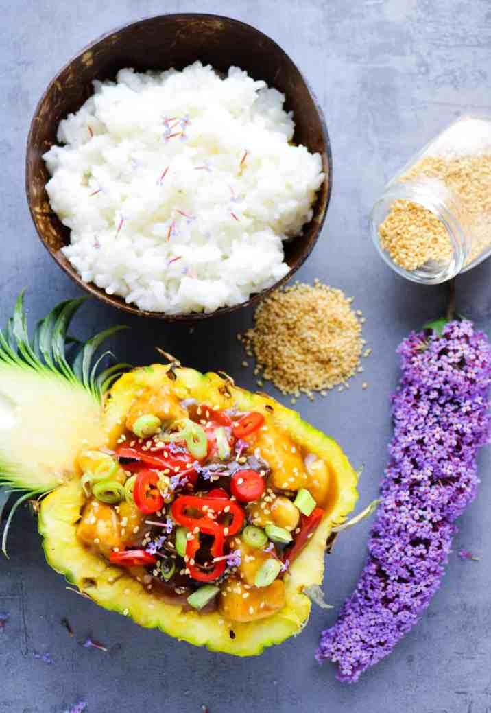 Pineapple Tofu with Veggies and rice