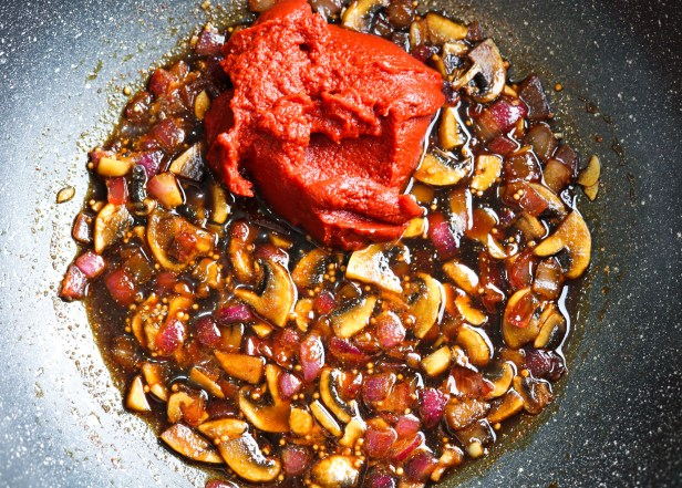 "tomato paste, onion, garlic, mushrooms, spices, vinegar in a pan saute for Tofu ""Ribs"" with Homemade Spicy BBQ Sauce"