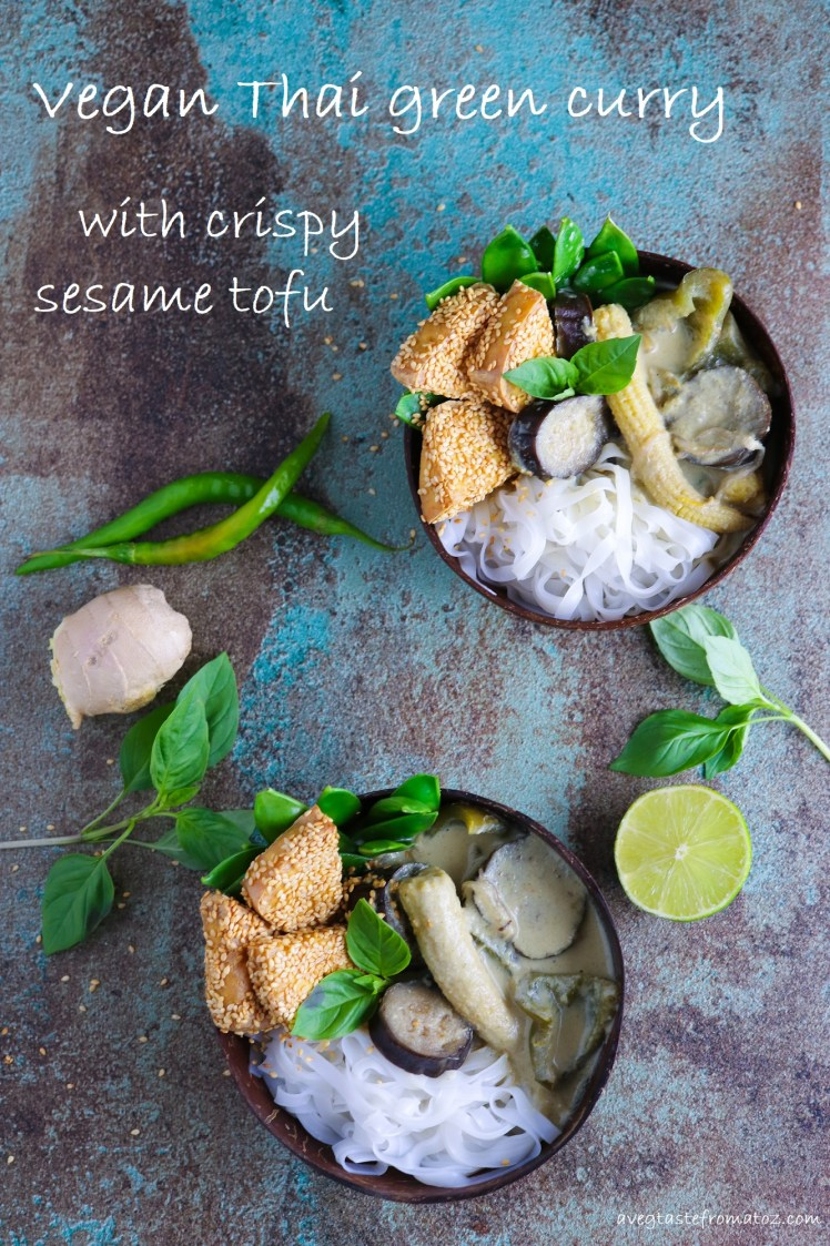 two bowls of vegan Thai Green Curry and rice noodles nicely arranged for pinterest image