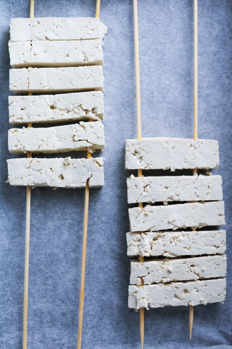 "cut tofu strips on wooden skewers for Tofu ""Ribs"" with Homemade Spicy BBQ Sauce"