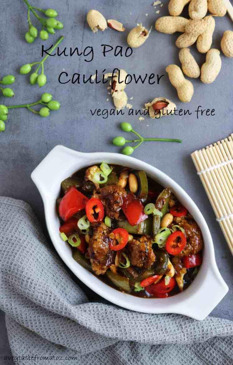 vegan and gluten free and vegetarian Kung Pao Cauliflower for pintrest