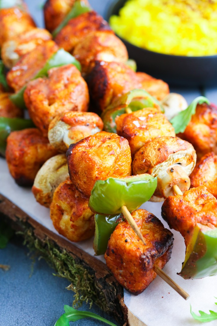 Tofu Puff Skewers ready to be served