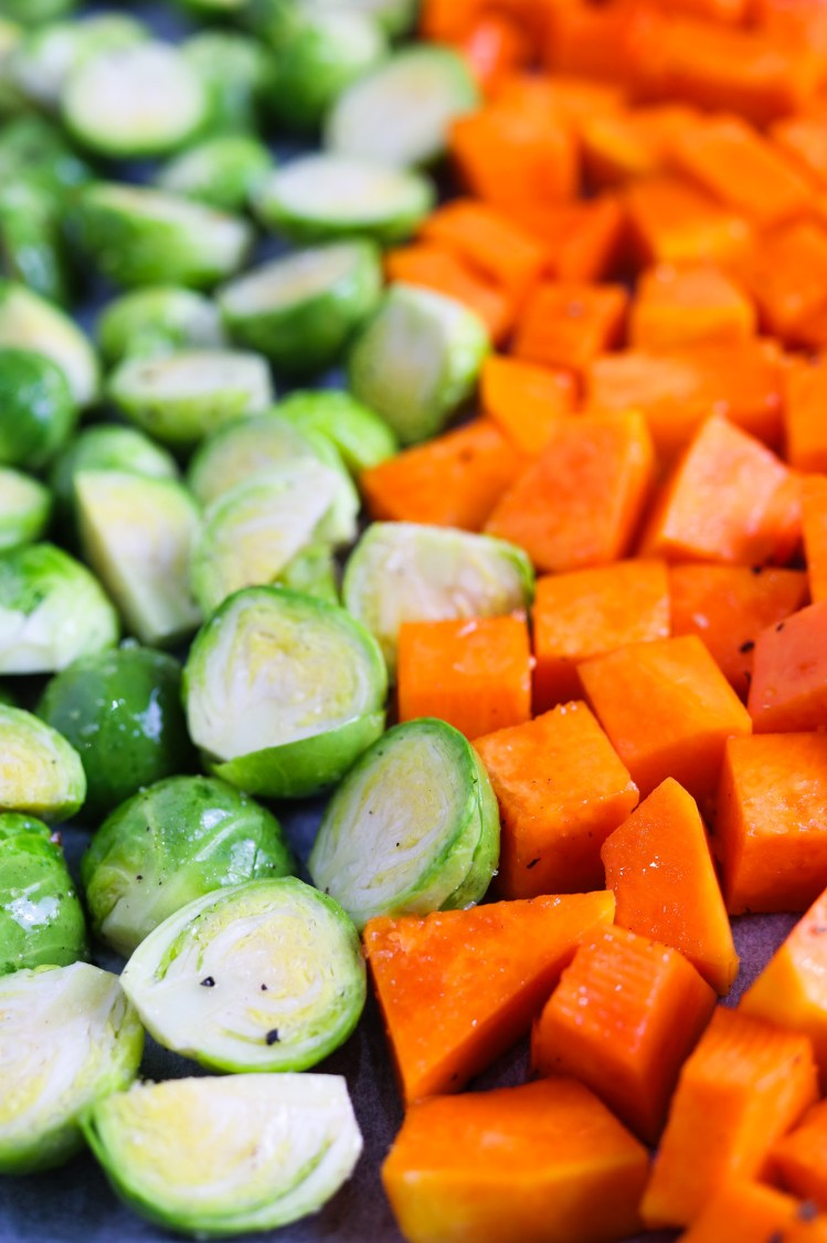 brussels sprouts and butternut squash for the oven