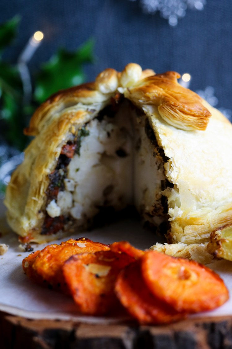 inside of the Roasted Cauliflower Wellington great idea for the vegan festive mains menu