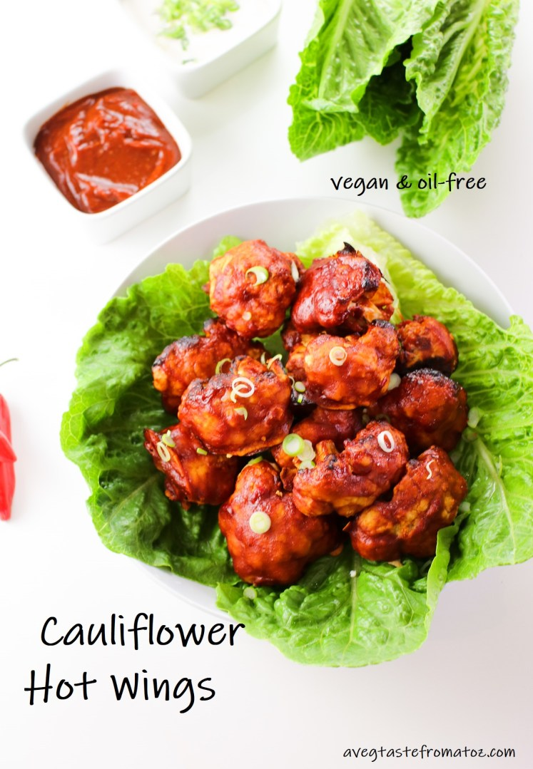 Cauliflower Hot Wings with text for pinterest
