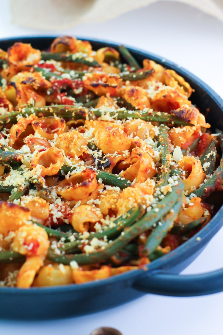 pasta al forno con fagiolini dopo la cottura