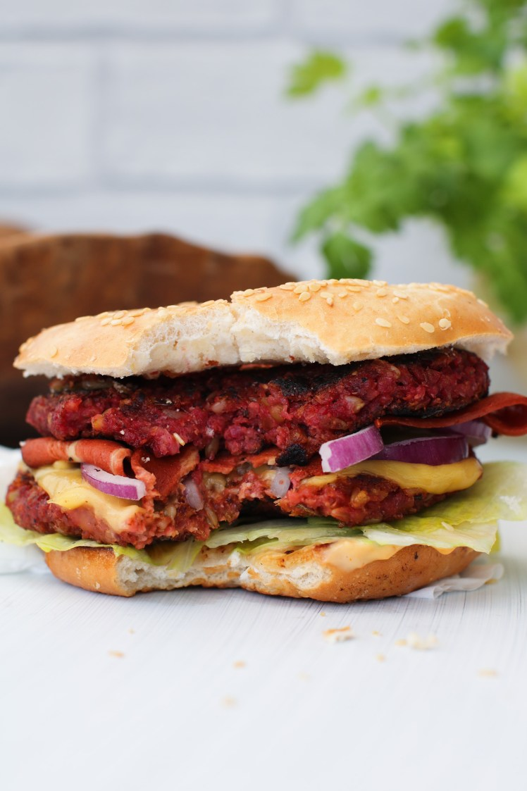 double Vegan Burger di Freekeh con morzo