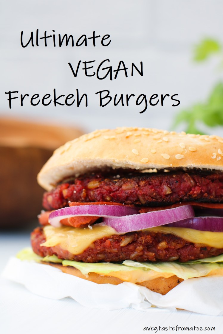 ultimate vegan freekeh burgers image for pinterest
