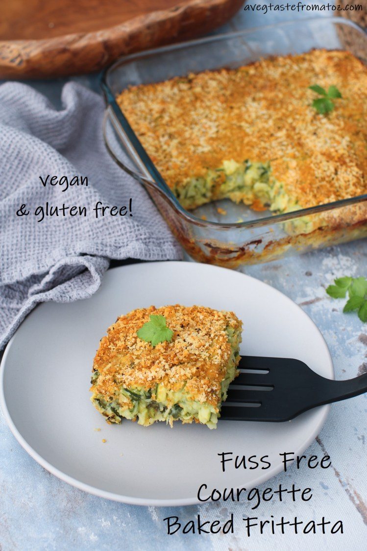fuss free courgette baked frittata image for pinterest