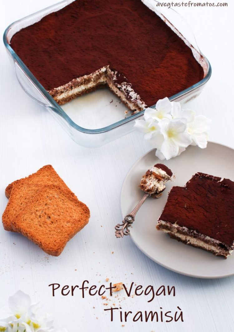 super easy perfect vegan tiramisù image for pinterest