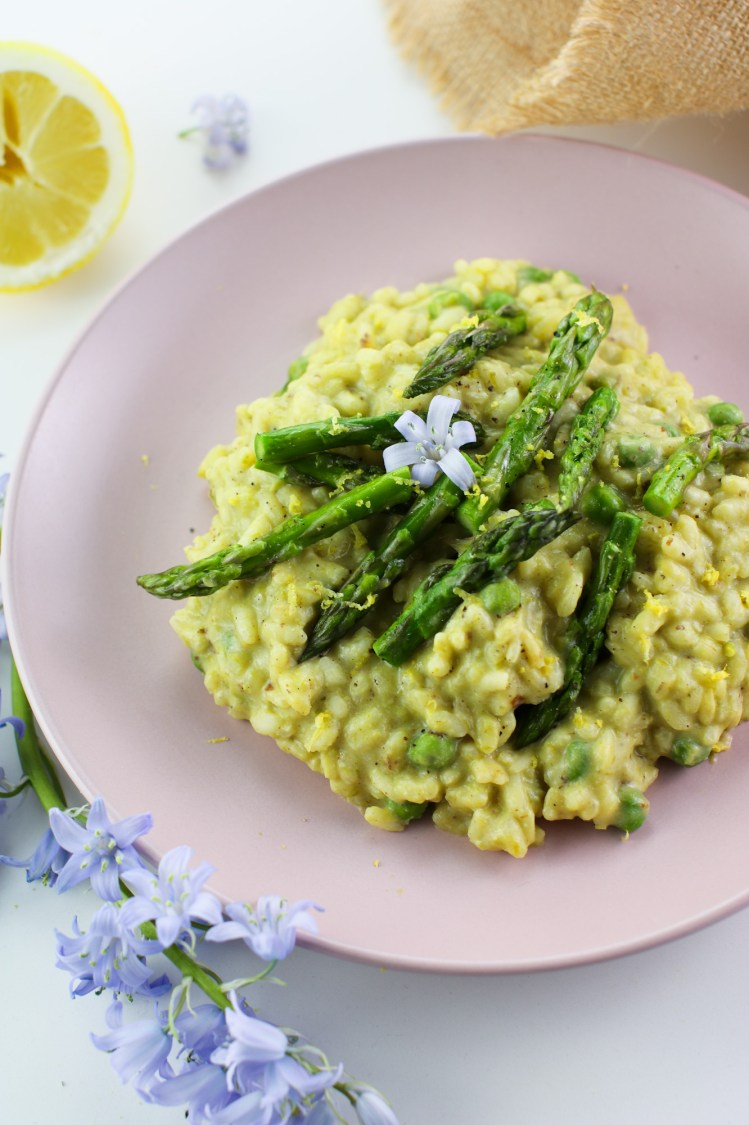 Creamy Asparagus Risotto with Lemon and Peas