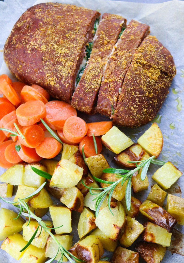 Cheesy Oozing Vegan Meatloaf with roasted potatoes and steamed carrots