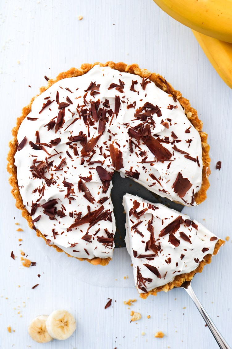 Decadent Vegan Banoffee Pie top down slice from pie