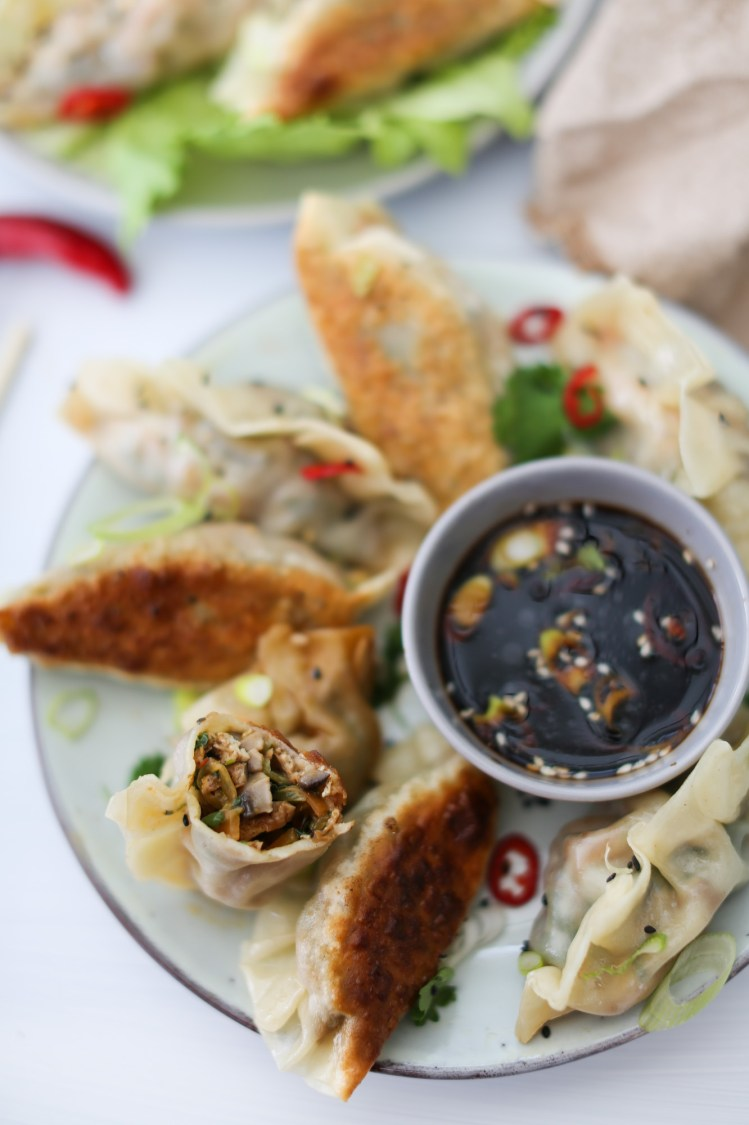 Vegan Chinese-Style Dumplings (Jiaozi) filling detail
