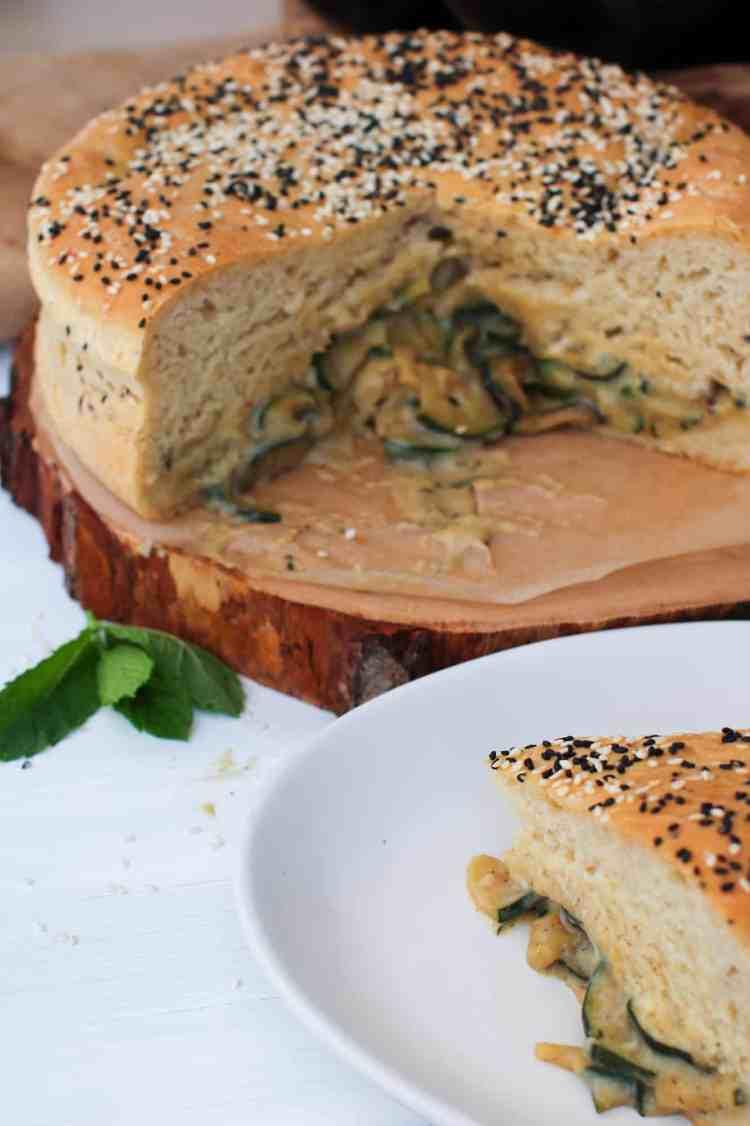Super Fluffy Courgette Stuffed Brioche Bread slice