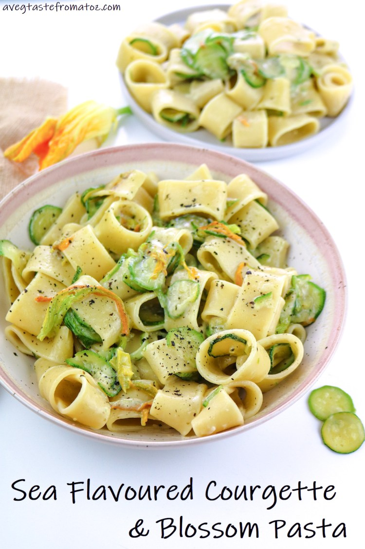 Sea Flavoured Courgette & Blossom Pasta image for pinterest