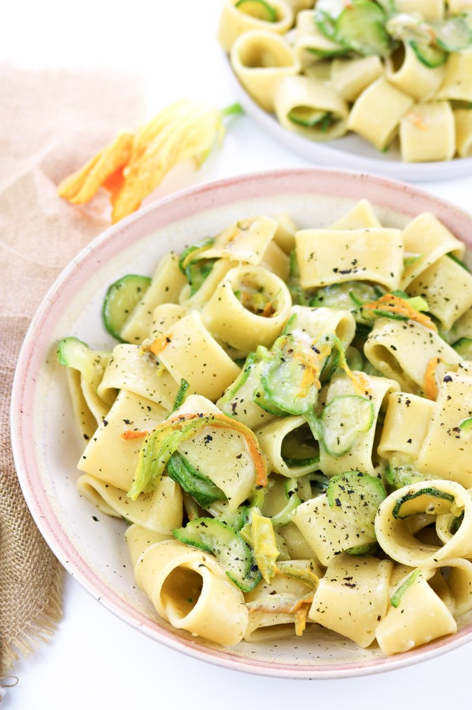 Sea Flavoured Courgette & Blossom Pasta close up