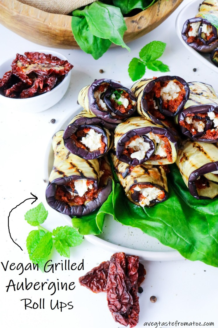 Grilled Aubergine Roll Ups image for Pinterest