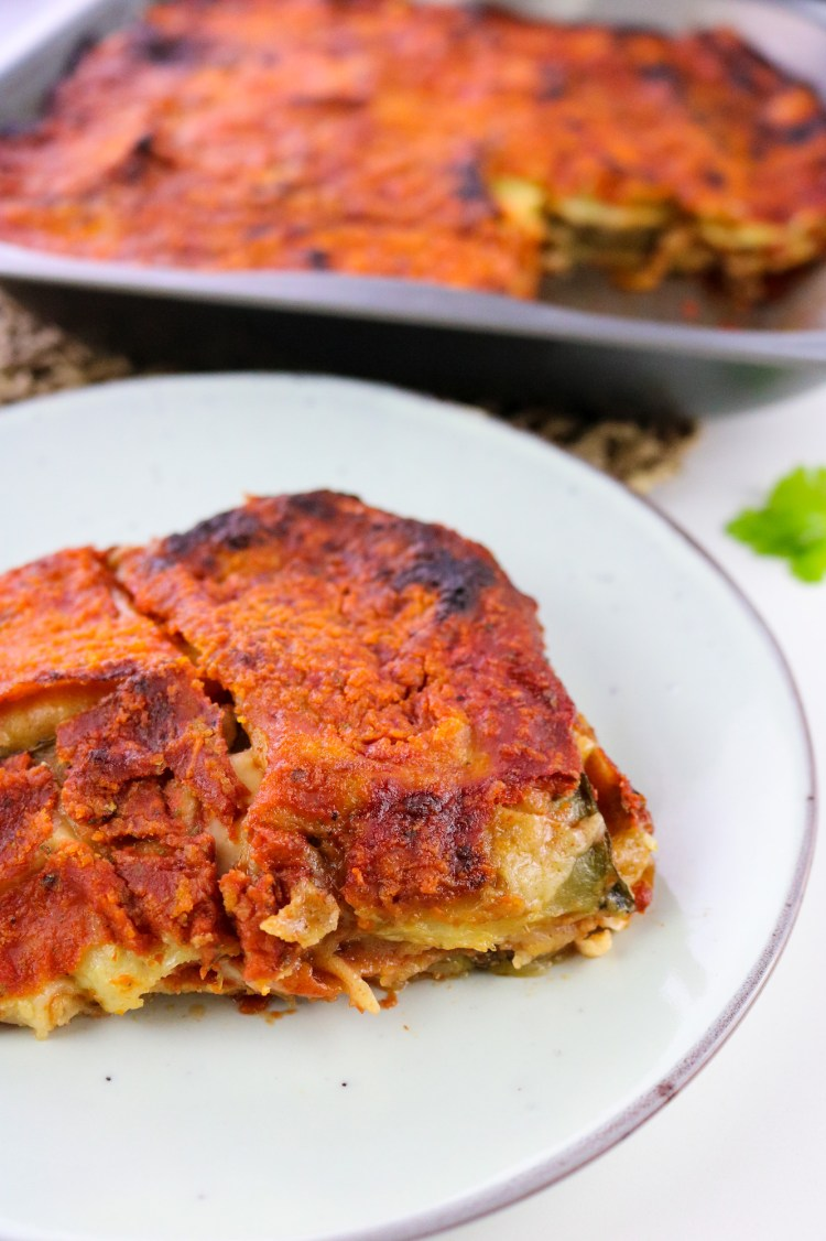 vegan courgette parmigiana slice focused on front