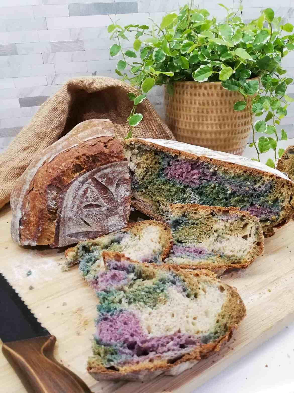 Multicoloured Sourdough Bread sliced