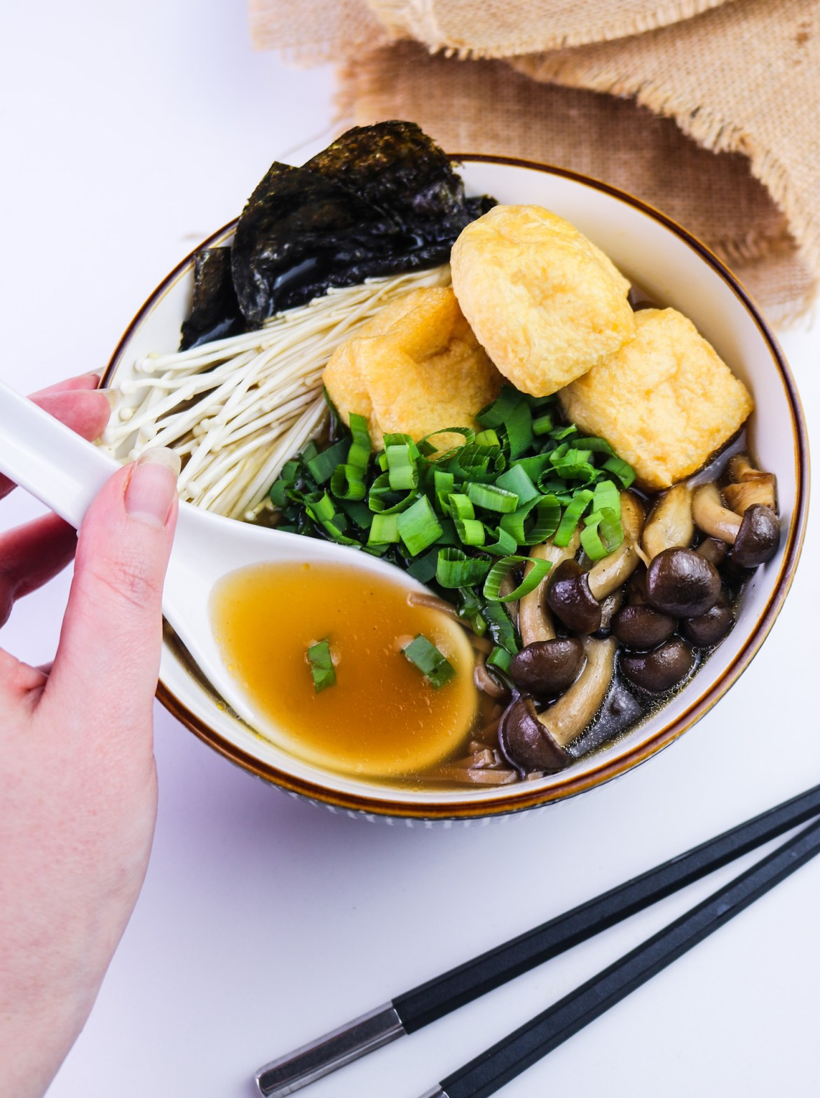 Best Vegan Mushroom Soba Ramen spoonful of dashi