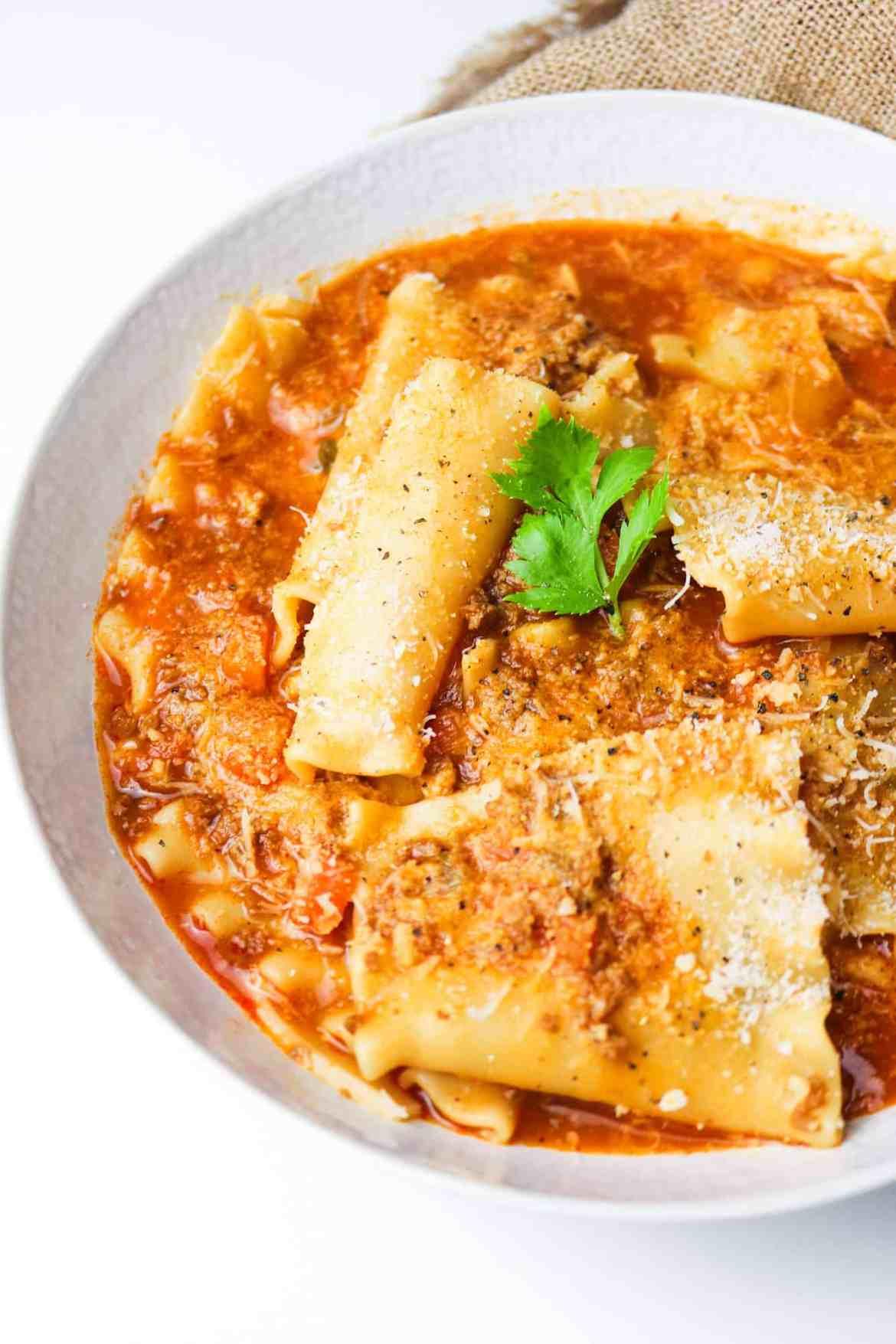 the best vegan lasagna soup served half plate