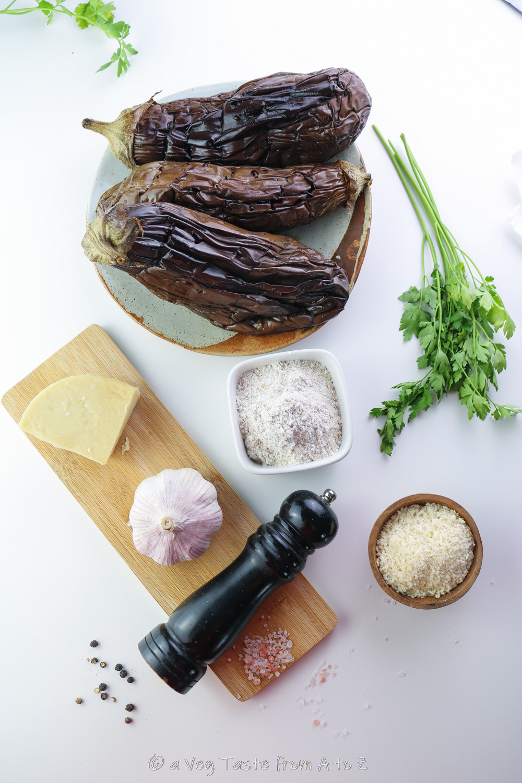 ingredients for aubergine meatballs