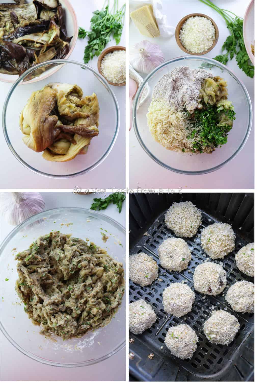 steps for aubergine meatballs