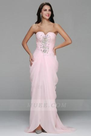 Beading Strapless Side Draped Long Pale Pink Chiffon Homecoming Dress