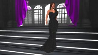 Les Oscars Mesh Gown - Black