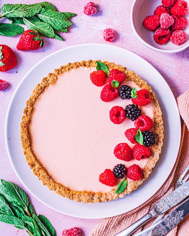 Tarta de fresa y mango saludable y sin gluten