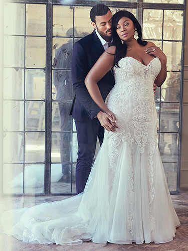 Quincy Wedding Dress Maggie Sottero | tulle fit-and-flare lace wedding dress