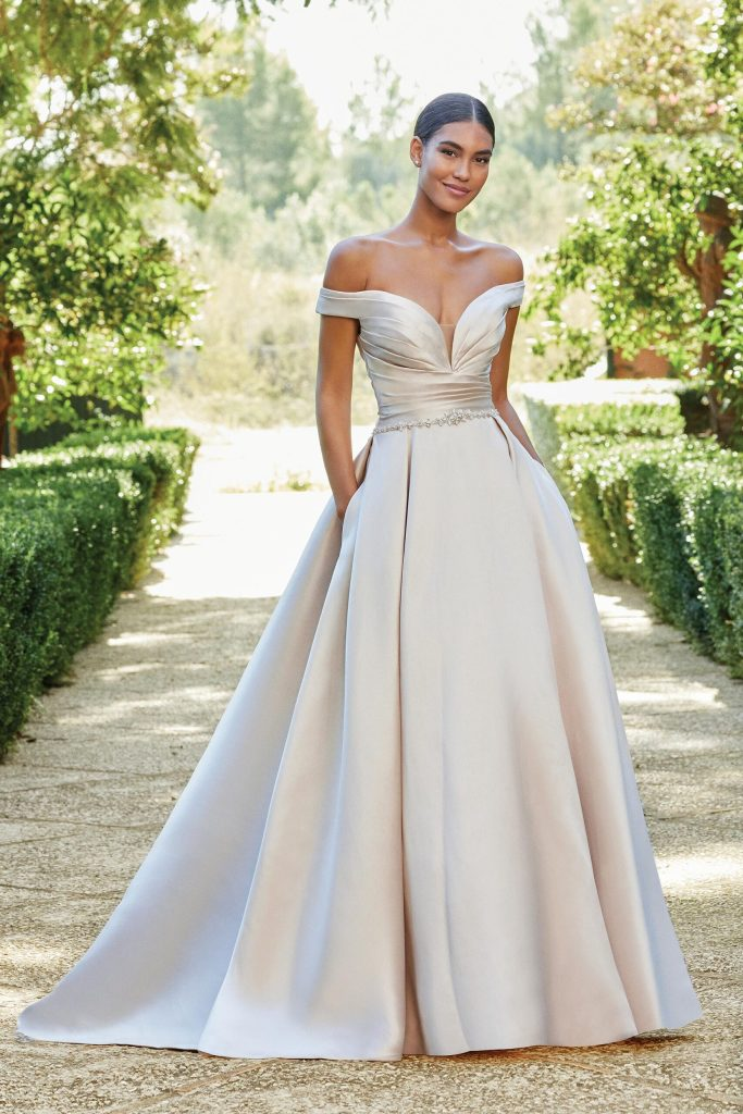 off the shoulder satin wedding dress