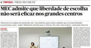 Imagem do Jornal Público: MEC admite que pais não vão escolher escola dos filhos