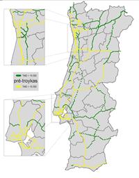 Tráfego médio diário (TMD) nas auto-estradas portuguesas em 2010
