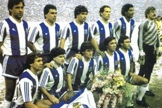Da esquerda para a direita. Em cima: Lima Pereira, Inácio, João Pinto, Jaime Magalhães, Geraldão e Mlynarczyc. Em baixo, Madjer, Rui Barros, Sousa, Gomes e André.