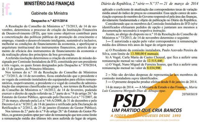 PSD um partido que cria bancos