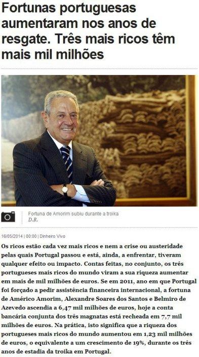 fortunas portuguesas aumentaram com a troika