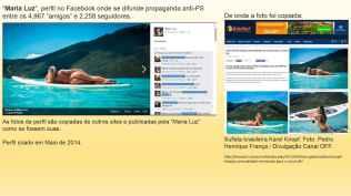 """""""Maria Luz"""", perfil no Facebook onde se difunde propaganda anti-PS entre os 4,967 """"amigos"""" e 2,258 seguidores."""