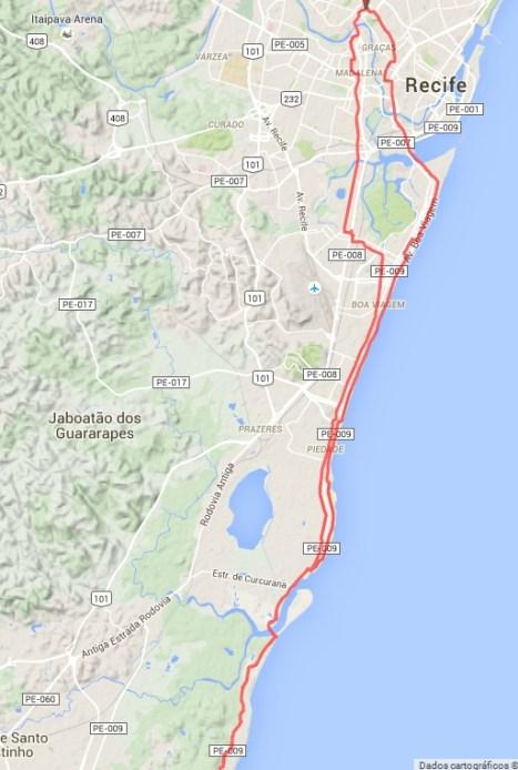 Route Recife - Itapoama Beach
