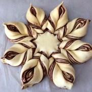 girasol con nutella antes de hornear