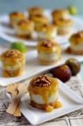 Mini cheesecakes de gorgonzola con coulis de higos