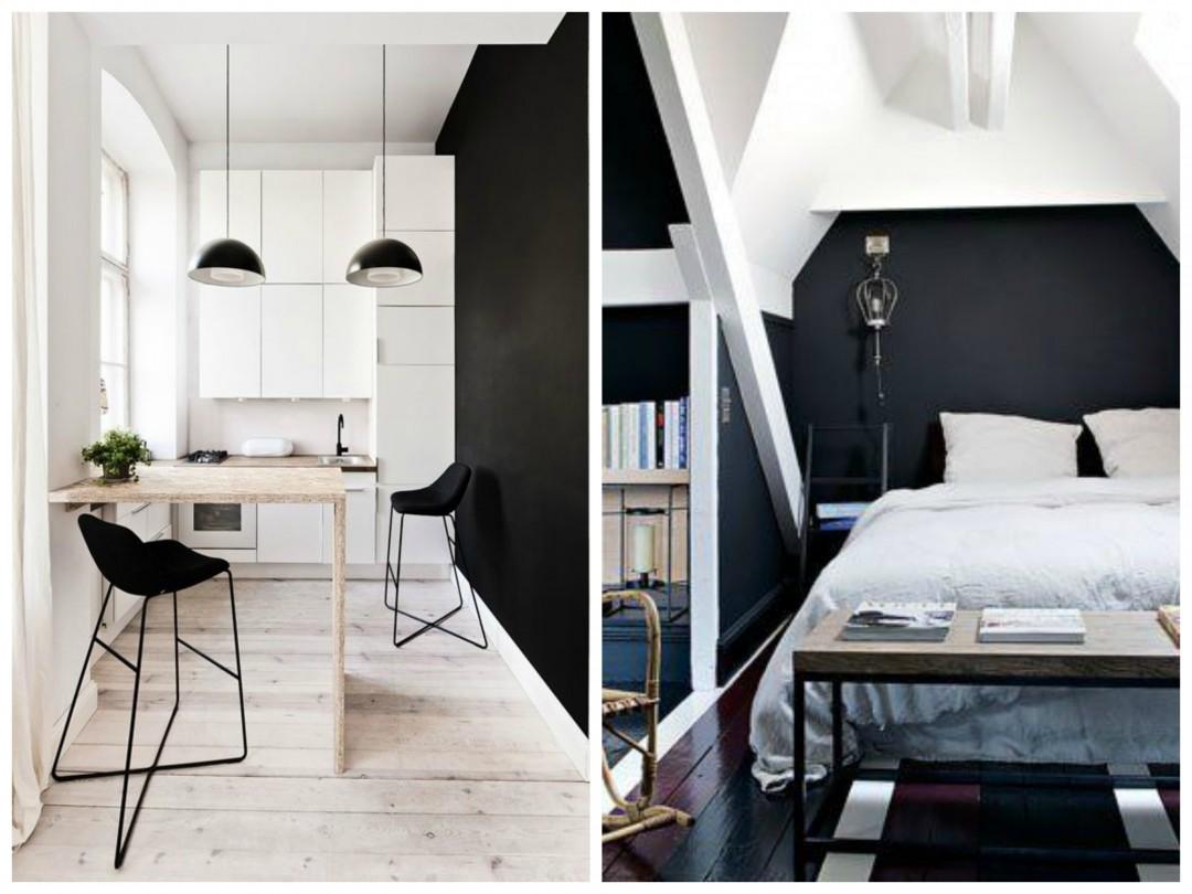 Deco Chambre Mur Noir   Chambre Coucher Table Tableau Noir Deco ...
