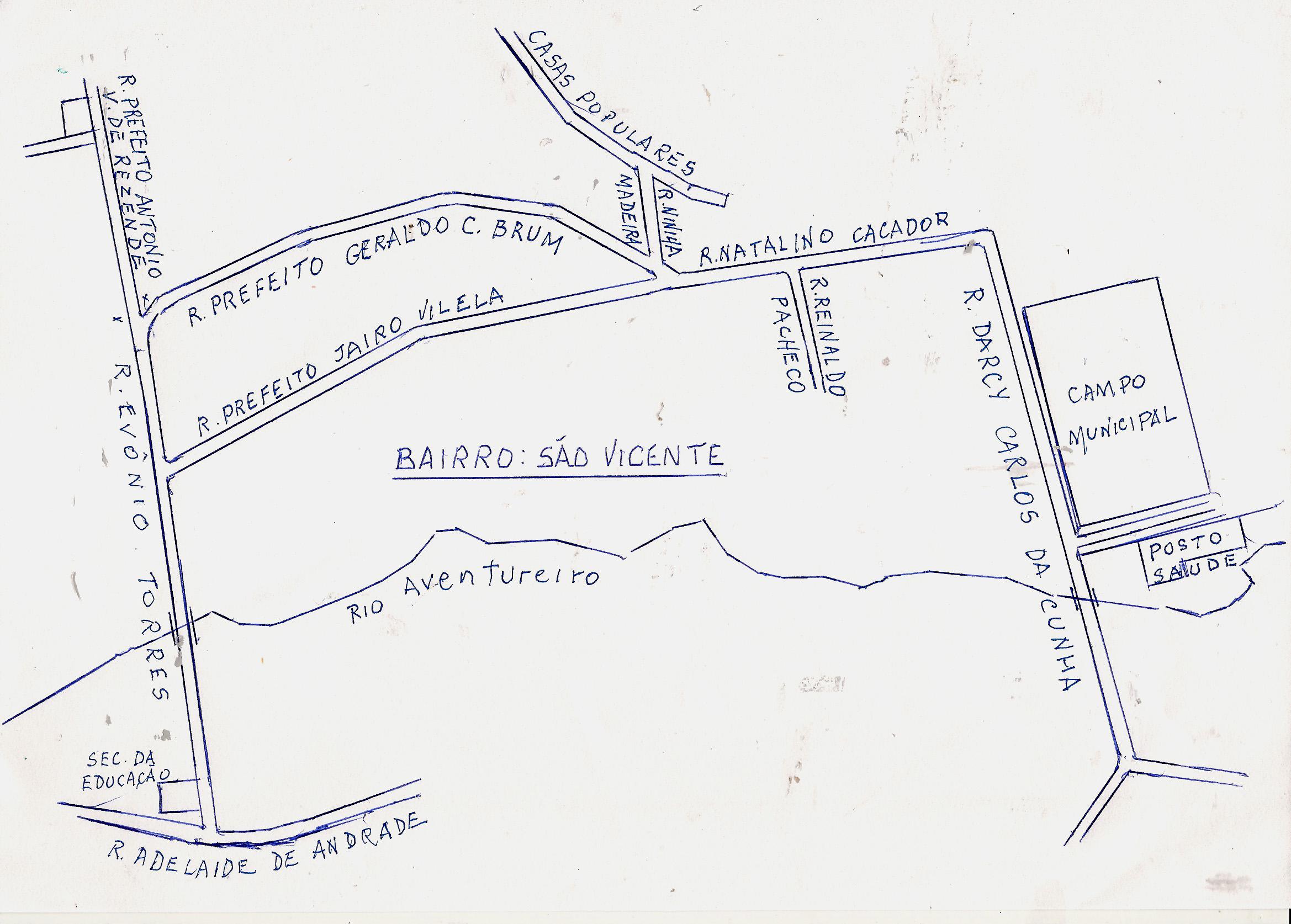 Bairros e Ruas de Santo Antônio do Aventureiro (Sede do
