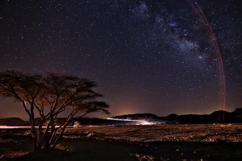 arbre, route nocturne, ciel etoilee, voie lactee et un joli faux arc en ciel resultant de la lumiere du reverbere sur le cote de mon objectif