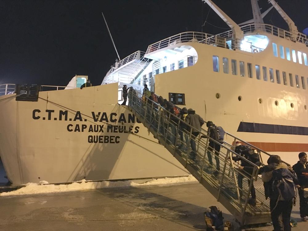 Arrivée à bord du Vacancier