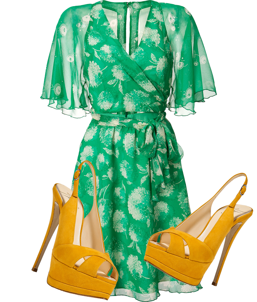 Green shoes go with a yellow dress but