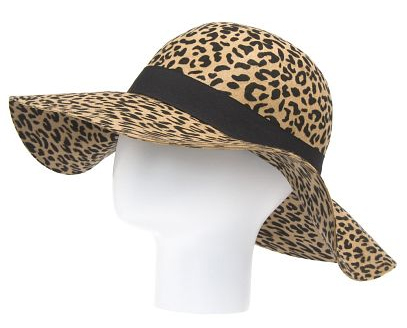 animal print wool hat - Gata C Floppy wool hat in animal print with contrast ribbon