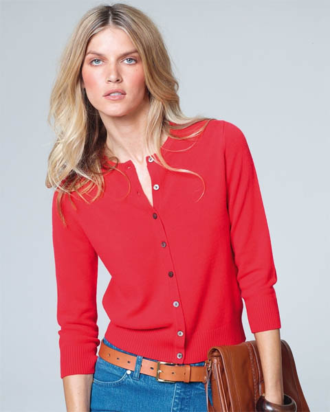 Red Cashmere cardigan three-quarter sleeve