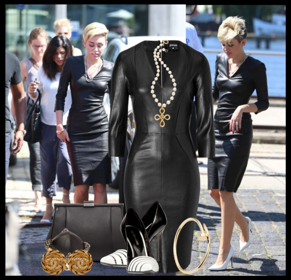 Miley Cyrus Jitrois Tight Black Leather Dress Avenuesixty